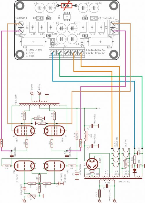 Module AB-2 for 2 tubes, PP & Single Ended amps, requires