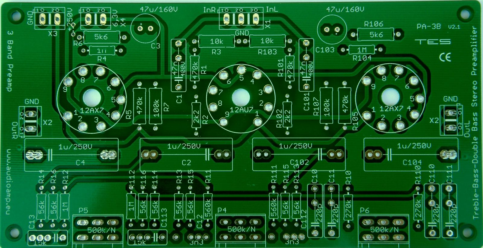 PCB - 3 Band Preamplifier - Double Bass, Bass, Treble, tubes on the parts side TES