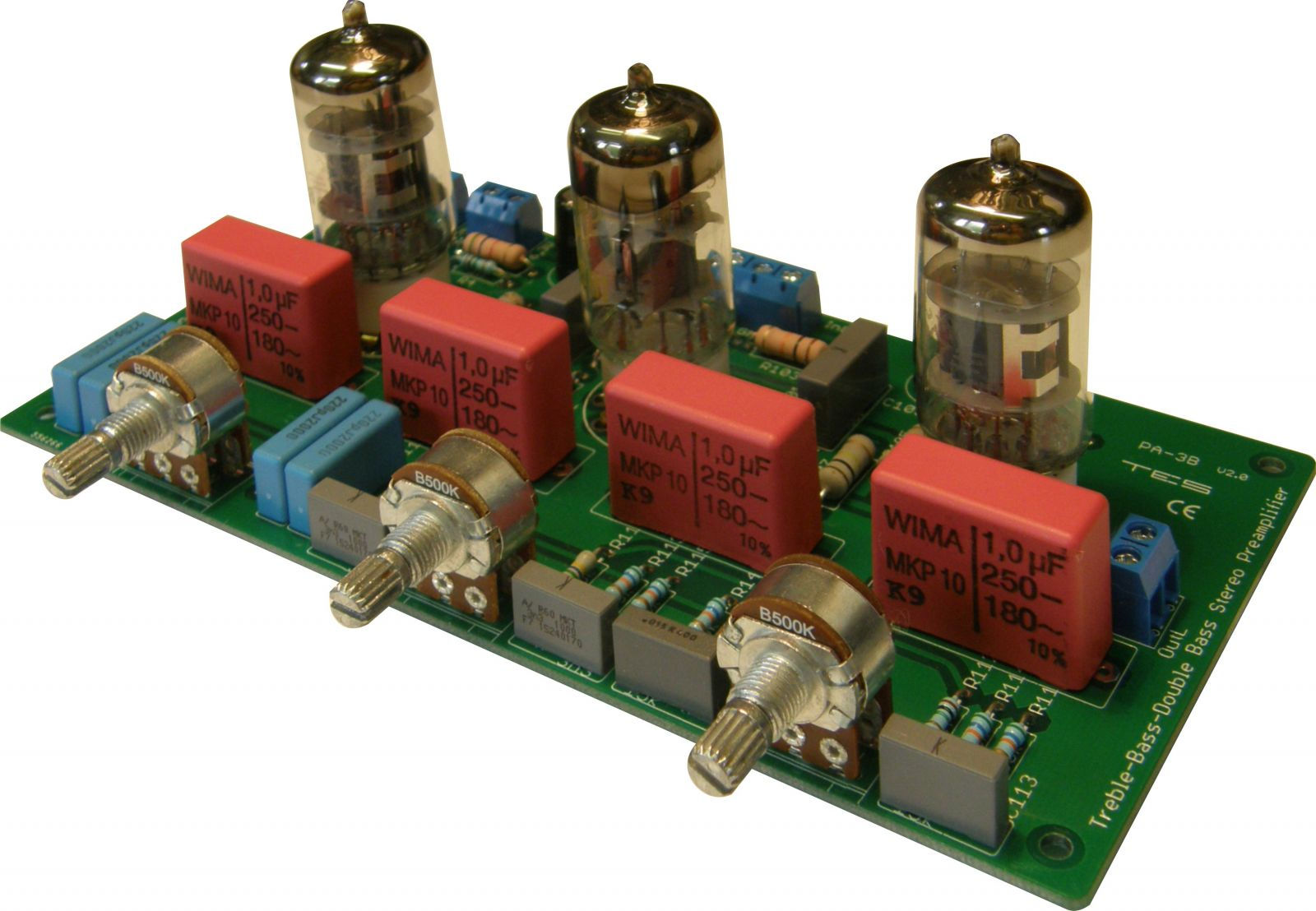 "3 Band Preamplifier - Double Bass, Bass, Treble, tubes on the parts side. Dimensions are 162mm x 84mm x 25mm high / 6.4"" x 3.3"" x 1"" high (without tubes) TES"